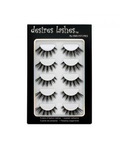 Natural Lashes 3D Layered Effect Fake-Mink Eyelashes Multipack 5Pairs, Volume