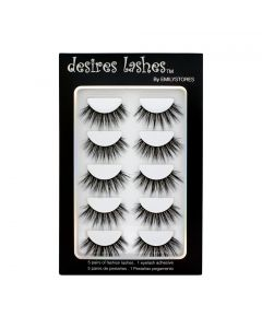Natural Lashes 3D Layered Effect Fake-Mink Eyelashes Multipack 5Pairs, Dramatic