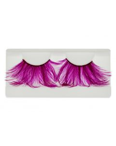 Pink Faux-Feather Costume Eye Lashes For Halloween, Dramatic Eyelashes, Party Looking, 1 Pair